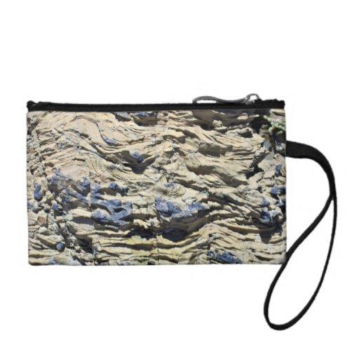 Irregular Rock Cliff with Swirls Pattern Change Purse