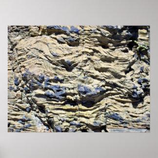Irregular Rock Cliff with Swirls Pattern Print