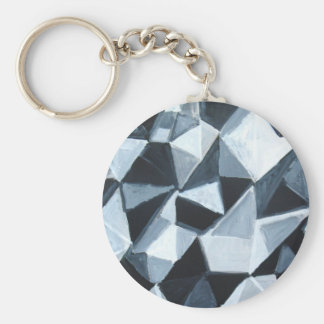 Irregular Triangle Pattern in Black and White Keychain