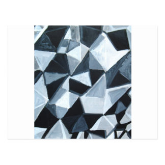 Irregular Triangle Pattern in Black and White Postcard