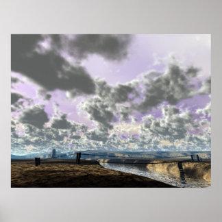 Irrigación del valle del desierto póster