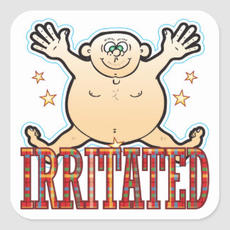 Irritated Fat Man Square Sticker