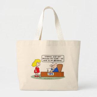 irs external internal enough taxes jumbo tote bag