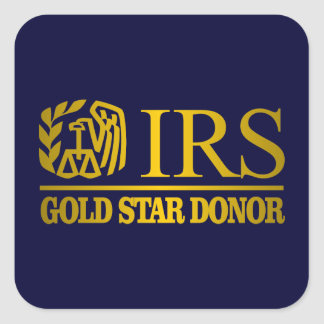IRS Gold Star Donor Square Sticker