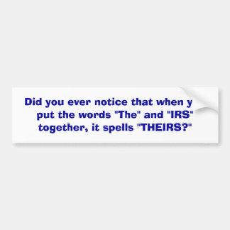 IRS - pegatina para el parachoques Pegatina Para Auto