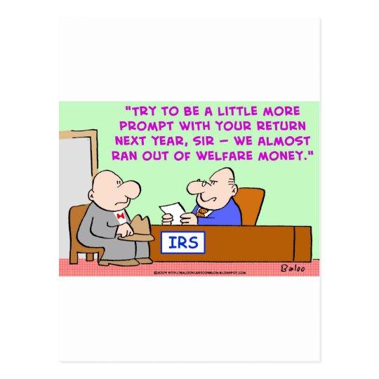IRS WELFARE MONEY POSTCARD