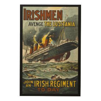 Irshmen Avenge the Lisutania! Vintage Recruitment Wood Wall Art