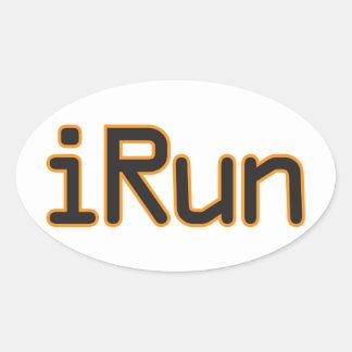 iRun - Black (Orange outline) Oval Sticker
