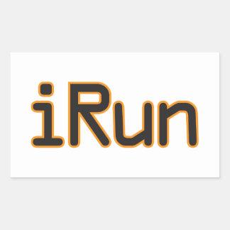 iRun - Black (Orange outline) Rectangular Sticker