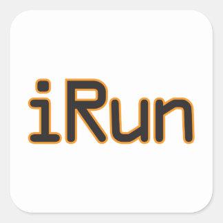 iRun - Black (Orange outline) Square Sticker