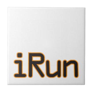 iRun - Black (Orange outline) Ceramic Tiles