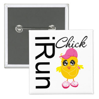 iRun Chick Pinback Button
