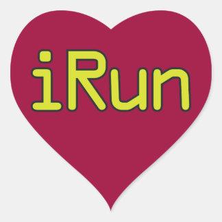 iRun - Lime (Black outline) Heart Sticker