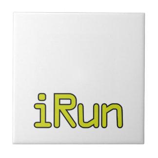 iRun - Lime (Black outline) Ceramic Tiles