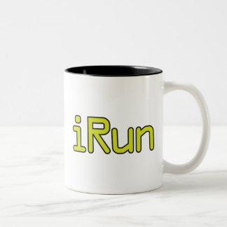 iRun - Lime (Black outline) Two-Tone Coffee Mug