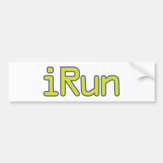 iRun - Lime (Blue outline) Bumper Sticker