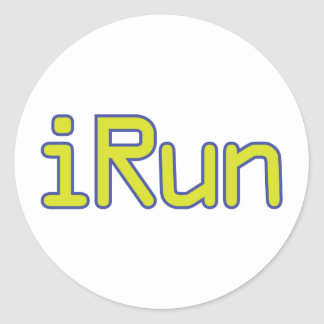 iRun - Lime (Blue outline) Classic Round Sticker
