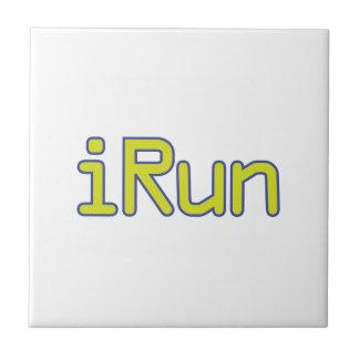 iRun - Lime (Blue outline) Ceramic Tiles