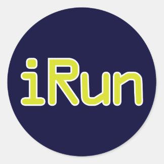 iRun - Lime (White outline) Classic Round Sticker