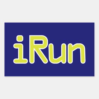 iRun - Lime (White outline) Rectangular Sticker