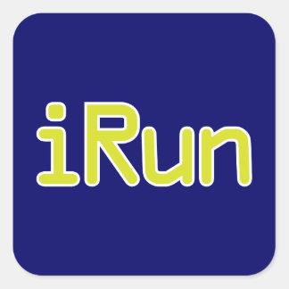 iRun - Lime (White outline) Square Sticker