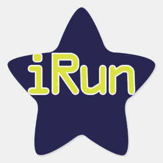 iRun - Lime (White outline) Star Sticker