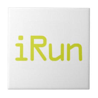 iRun - Lime (White outline) Ceramic Tiles