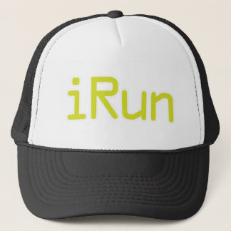 iRun - Lime (White outline) Trucker Hat
