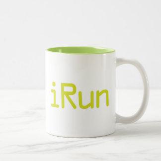 iRun - Lime (White outline) Two-Tone Coffee Mug