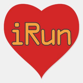 iRun - Orange (Black outline) Heart Sticker