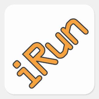 iRun - Orange (Black outline) Square Sticker
