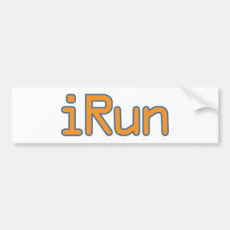 iRun - Orange (Blue outline) Bumper Sticker