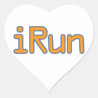 iRun - Orange (Blue outline) Heart Sticker