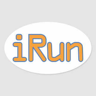 iRun - Orange (Blue outline) Oval Sticker