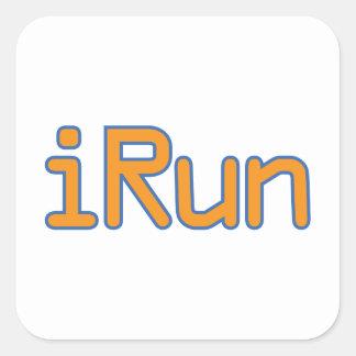 iRun - Orange (Blue outline) Square Sticker