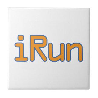 iRun - Orange (Blue outline) Ceramic Tiles