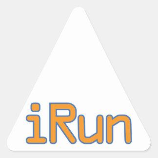 iRun - Orange (Blue outline) Triangle Sticker