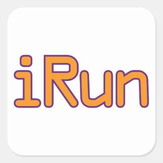 iRun - Orange (Purple outline) Square Sticker