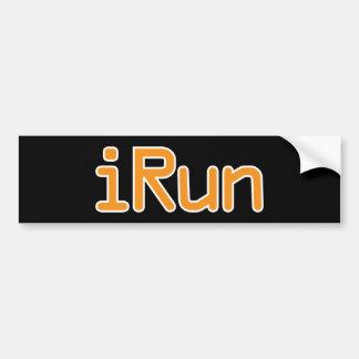iRun - Orange (White outline) Bumper Sticker