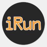 iRun - Orange (White outline) Classic Round Sticker
