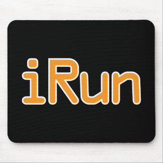 iRun - Orange (White outline) Mouse Pad