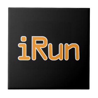 iRun - Orange (White outline) Ceramic Tiles