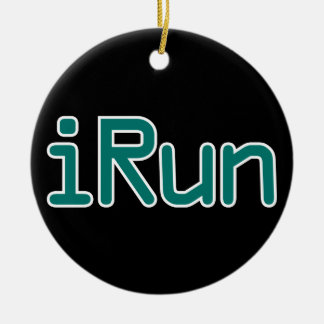 iRun - Teal (Black outline) Ceramic Ornament