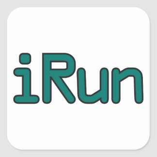iRun - Teal (Black outline) Square Sticker