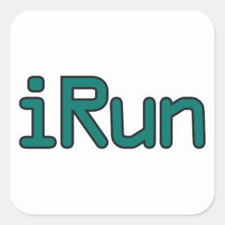 iRun - Teal (Black outline) Square Sticker