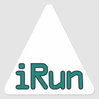 iRun - Teal (Black outline) Triangle Sticker
