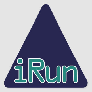 iRun - Teal (Black outline) Triangle Sticker