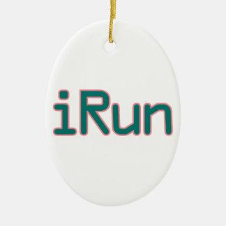 iRun - Teal (Pink outline) Ceramic Ornament