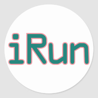 iRun - Teal (Pink outline) Classic Round Sticker