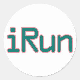 iRun - Teal (Pink outline) Classic Round Sticker